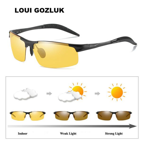 5d63c8179c Gafas de visión nocturna Sun Decoloración del camaleón UV Gafas de sol  Conducción Hombres fotocromáticos Gafas