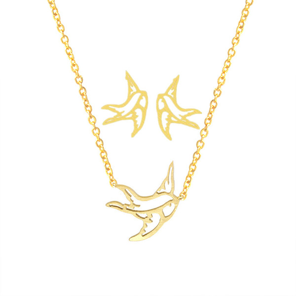 Flying Origami Swallow Stud Earrings Pendant Necklace Men Women Gold Jewelry Sets Stainless Steel Animal Brinco Feminino Schmuck
