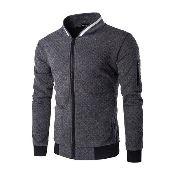 2018 Men s coat jacket autumn winter new men's diamond shape contrast color zipper stand collar casual sweater coat