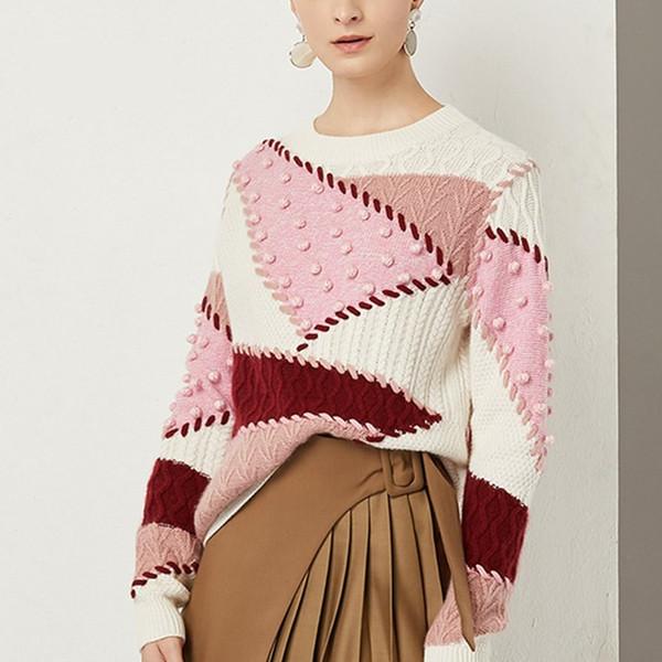 Diseñador de la marca Mujeres Suéteres gruesos 2018 Otoño Invierno Moda Cuello redondo Twisted Patrón geométrico de punto suelto Pullover Jumpers Tops