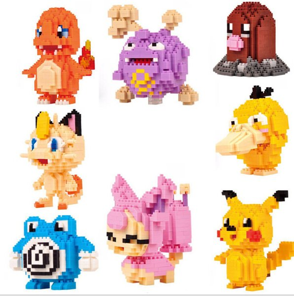 12 models Figures diamond Toys Pikachu Charmander Bulbasaur Squirtle Charizard Eevee Child Christmas gift Anime Building Blocks
