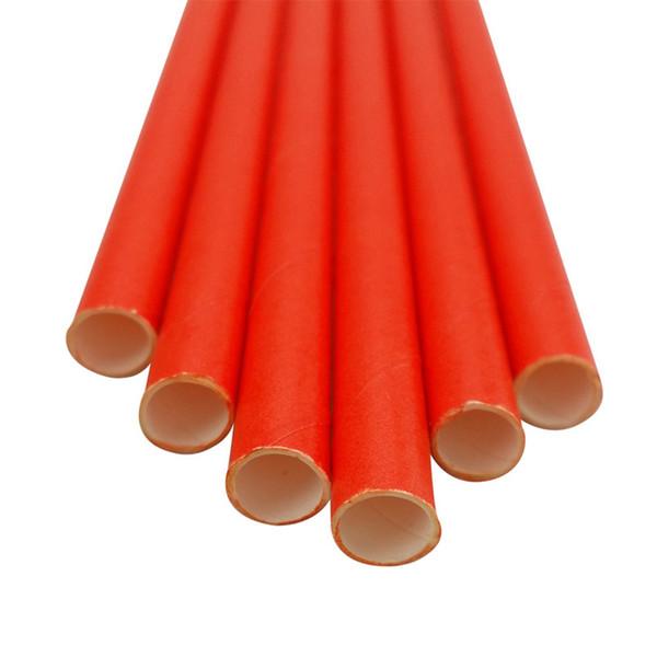 pajitas de papel rojo liso