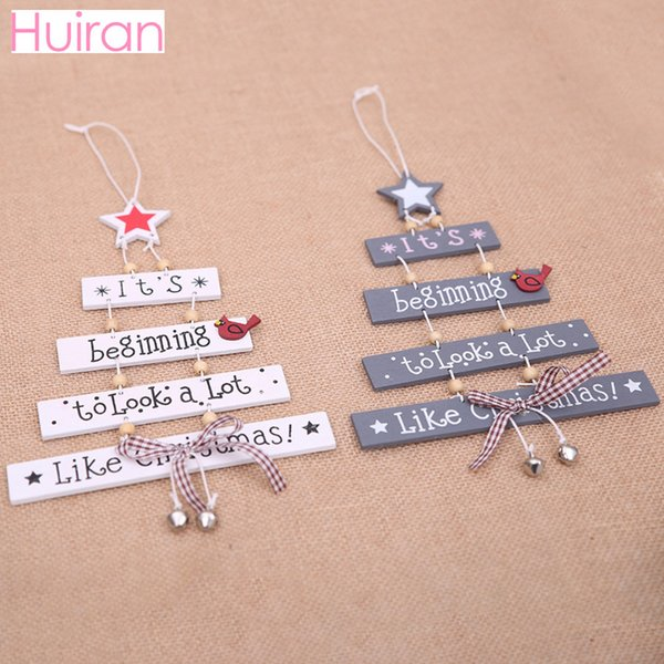 HUIRAN Wood Merry Christmas Wooden Christmas Decorations For Home Christmas Tree Ornaments 2018 Happy New Year 2019 Cristmas D18111202
