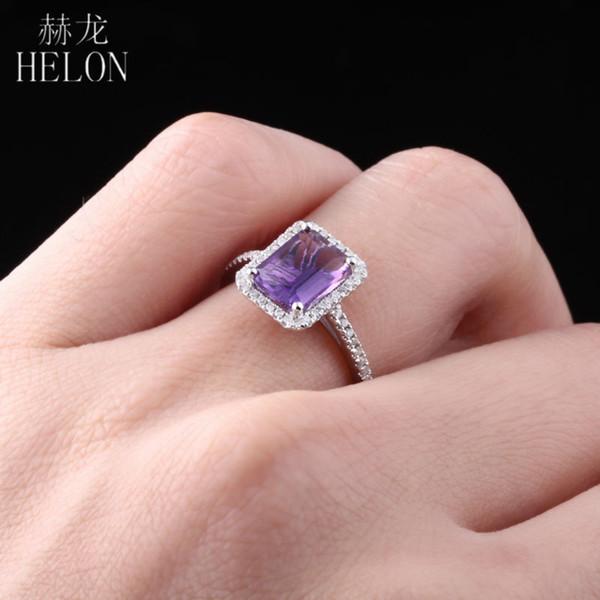 HELON Real 925 Sterling Flawless 1,9ct Amethyst Anello 100% autentico diamante naturale anello per le donne matrimonio romantico gioielli