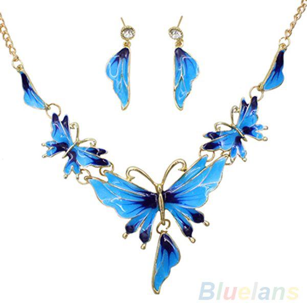 New Women's Alloy Butterfly Shaped Choker Chain Necklace Earrings Jewelry Set 1S4F 6OUA