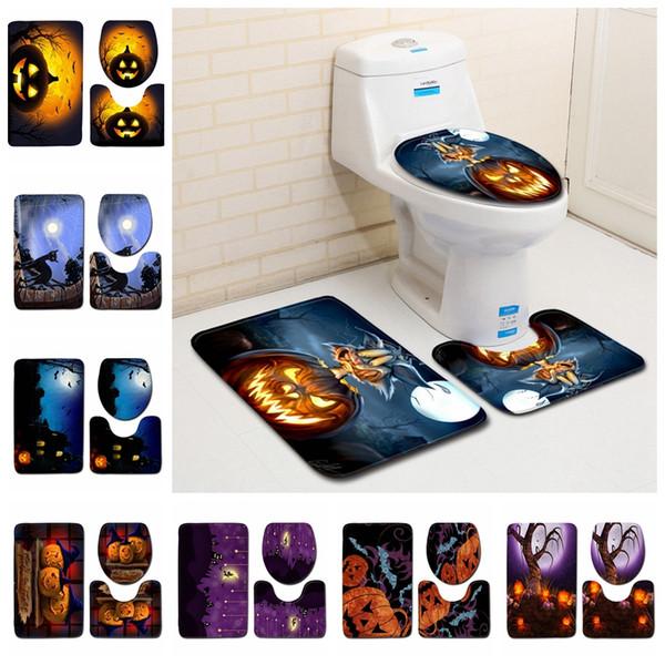Phenomenal 2019 Halloween Pumpkin Toilet Mat Set Bathroom Carpet Toilet Lid Cover Toilet Seat Cover Rugs Non Slip Bath Mats Mma500 50Lot From Lamtechconsult Wood Chair Design Ideas Lamtechconsultcom