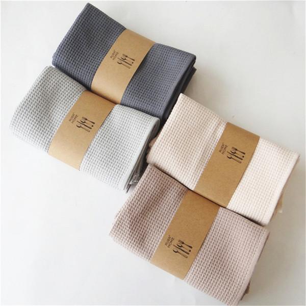 top popular 5pcs waffle cotton doormat napkin tea towel household kitchen rag ins gourmet photo background cloth 2021