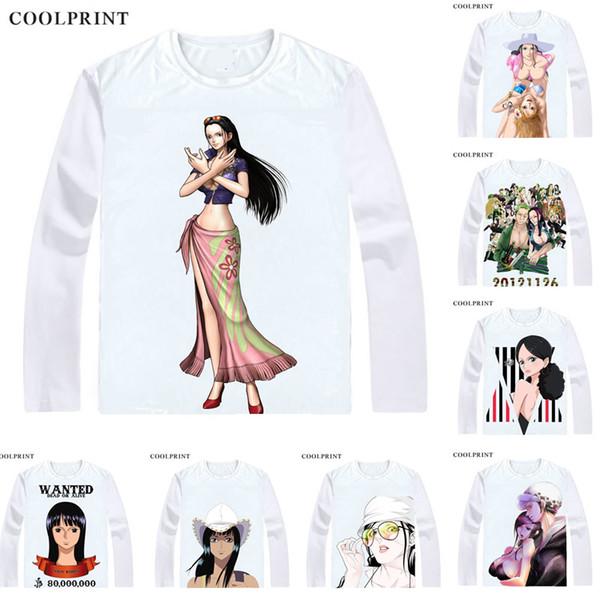 COOLPRINT ONE PIECE T-Shirts Long Sleeve Shirts Anime Manga Wan Pisu Straw Hat Pirates Nico Robin Devil Child Niko Robin Cosplay Shirt