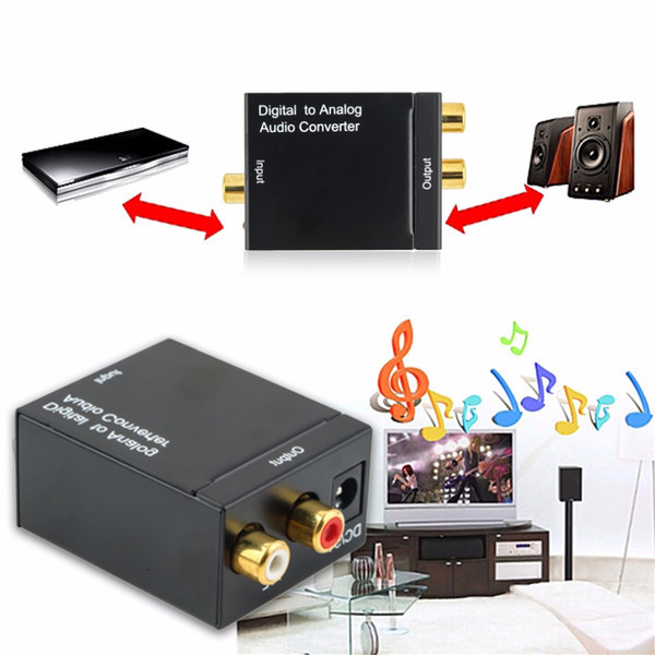 Freeshipping 1pc Hot Sale Digital Adaptador Optic Coaxial RCA Toslink Signal to Analog Audio Converter Adapter Cable