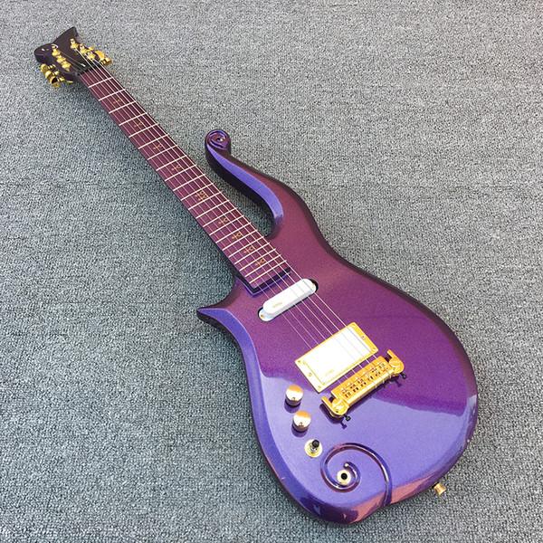 De cana-de-diamante série príncipe metálico roxo nuvem guitarra elétrica Maple corpo pescoço, símbolo de ouro embutimento, única bobina EMG branco captador