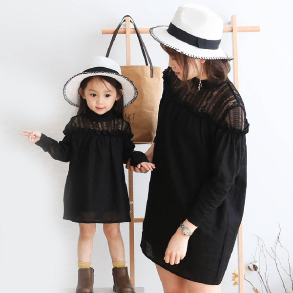 Mom Daughter Dress Black Lace Long Sleeve Solid Pullovers Family Matching Outfits for Little Girls 18M TO 8T Mom One Size Dress