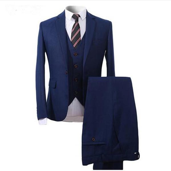 Custom Made Men Suits For Wedding 3 Pieces Groomsmen Tuxedos Slim Fit Men Prom Party Business Suit (jacket+pant+vest)