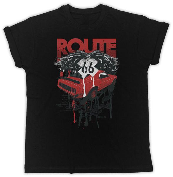 Маршрут 66 плакат фильма лозунг идеальный подарок мужская черная футболка с коротким рукавом повседневная печатных Tee размер S-3Xl поп хлопок человек Tee