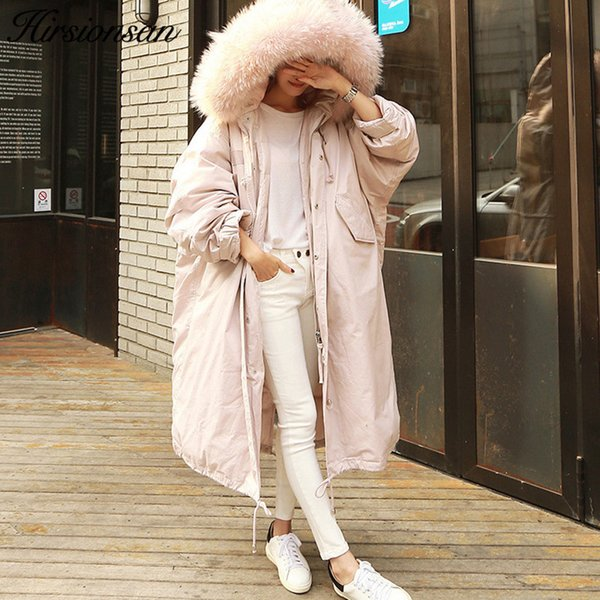 Hirsionsan Winter Coat Women Large Fur Collar Hooded Long Jacket Thicken Warm Korean Padded Parkas 2018 Oversized Military Parka C18110901