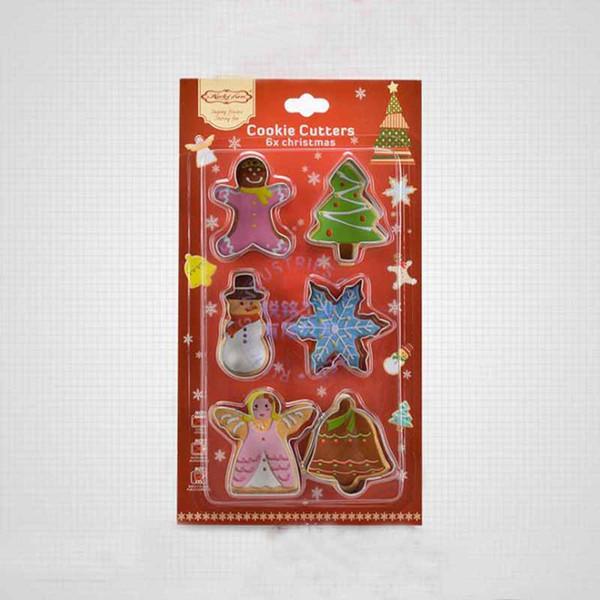 6 Pçs / set Novo Bakeware Handmade Mold Biscoitos De Natal Cortador Biscuit Molde Set Açúcar Artes Fondant Bolo Decoração Ferramentas de Cozinha Suprimentos
