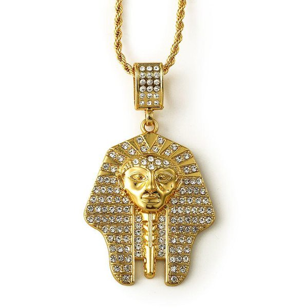 2018 Necklace Punk Gold Bling Crystal Pharaoh Face Pendant Necklaces Bar Dance Twist Chain Pendents Collares For Women Men Gift