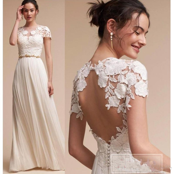 2017 New Bohemian Wedding Dresses Lace Cap Sleeves A Line Summer Beach Bridal Gowns Floor Length Key Hole Back Plus Size Wedding Dress