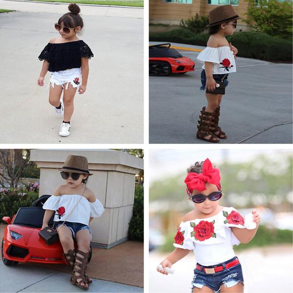 Ropa linda para niños pequeños 2018 Summer Kids Baby Girls Set de ropa Tops de flores + Pantalones cortos de mezclilla 2pcs Trajes para niñas Ropa para niños de moda 2-7T