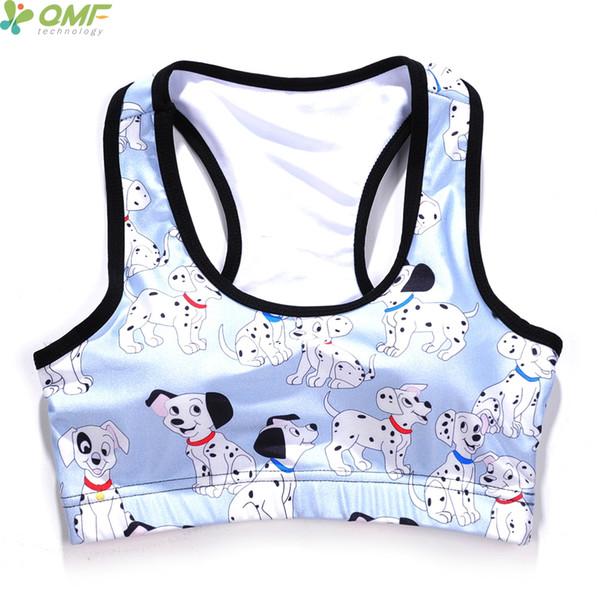 Die 101 Dalmatiner Sport Lauf Bras Weiß Pongo Yoga Bh Gepolsterte Nette Cartoon Welpen Hunde Lauf Bh Jogging Unterwäsche Frauen