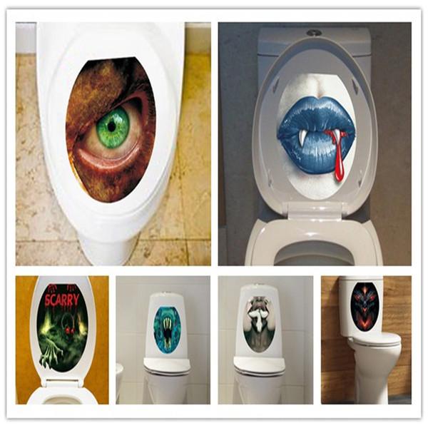 Yaratıcı Korkunç Çıkarılabilir Adesivos Ev Çıkartması Banyo Sanat Su Geçirmez Posterler Kağıt Tuvalet çıkartmalar duvar Korku Tuvalet Sticker ZZ