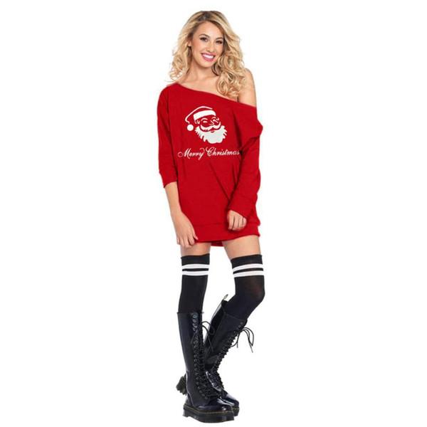 Womail Women Cold Shoulder Santa Claus Costume Dress Christmas Fancy Dress sexy woman 2018 L30801