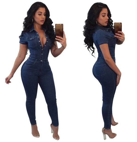 Plus Size Short Sleeve With Pockets Jeans Overalls Blue Turn Down Collar Front Buttons Long Skinny Jumpsuit Women Denim Rompers