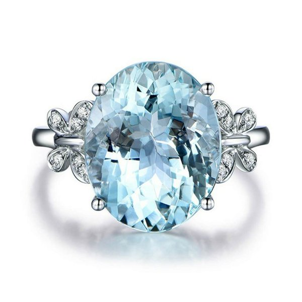 top popular Rings for Women Aquamarine Heart-shaped Crystal Platinum Ring Lover Engagement Ring Side Fashion Jewelry Ring Wholesalers Cheap Women Gift 2019