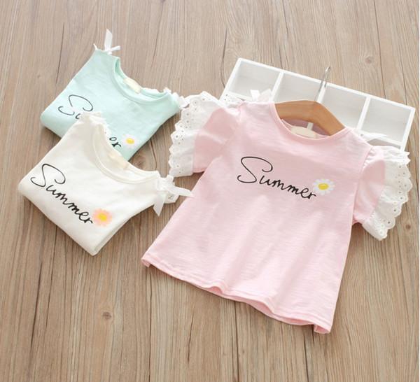 Kids girl short sleeve T Shirts Baby Girls summer Ruffles Lace solid Tops Blouses kids clothing children shirts 2-7yrs