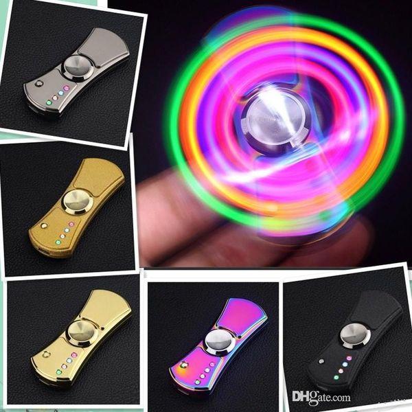 top popular LED Flash Light Alloy Tri-Spinner Hand Spinner USB Cigar Lighter Fidget Gift Spinning Toy 2017 Cigarette Lighter EDC handspinner b956 2019
