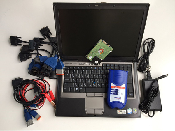 NEXIQ 125032 USB Link heavy duty truck diagnostic scanner full cable software installed in laptop d630 ready to work
