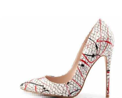 2017 new style women red bottom high heels shoes hand-painted pattern pointed toe green serpentine lady wedding shoes +dust bag+box