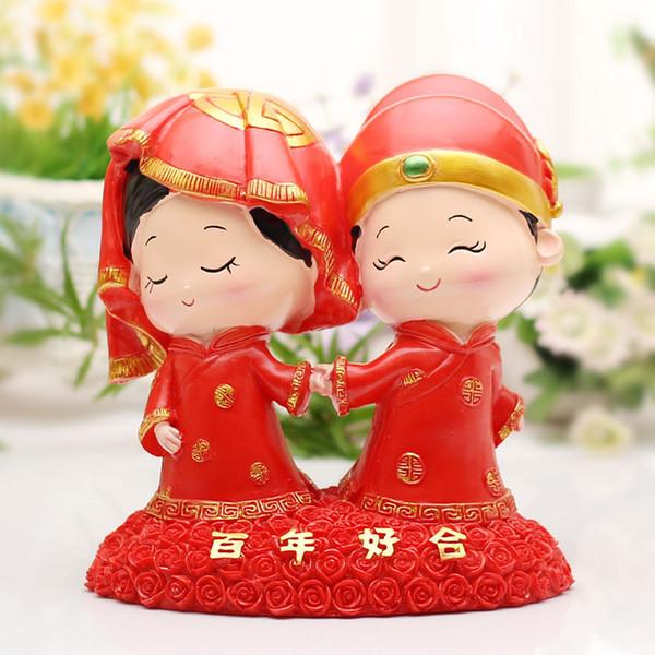 Rote chinesische Art Hochzeitstorte Topper Figuren Hochzeitsgeschenke Raumdekorationen Kuchen Zubehör