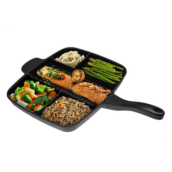 """Fryer Pan Non -Stick 5 In 1 Fry Pan Divided Grill Fry Oven Meal Skillet 15 """"Black"""