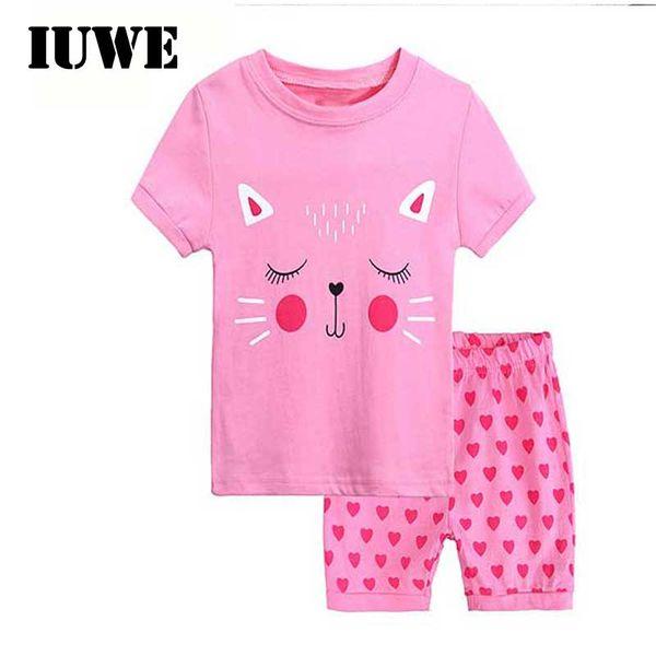 Summer Children Set for Girl Cartoon Pink Cat love Printed T-shirt+Shorts Pants 2pcs Sport Suit Casual Girls Clothing Sets 2 T