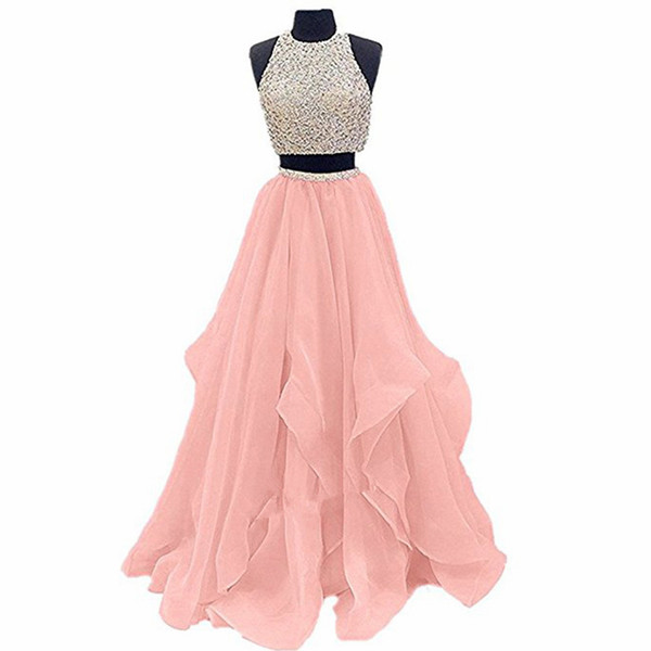 Elegant Pink Luxury 2 Piece Prom Dresses 2018 Crystals Organza Open Back Long Evening Gowns Party Celebrity Gowns QC1101