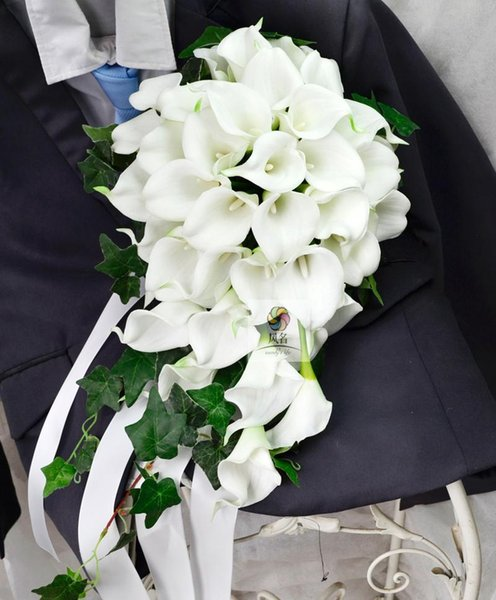 Waterfall Style Handmade Wedding Bouquets Floral Bridal Bridemaids Bouquet white PU calla lily Artificial Flowers Holding Flower
