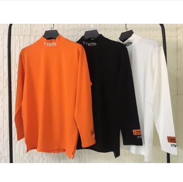2019 HERON PRESTON Ricamo Donna Uomo Dolcevita T-shirt a manica lunga Tees Hiphop Streetwear Uomo T-shirt in cotone HP Brand
