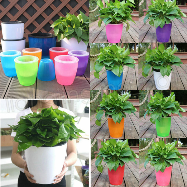 8colors Automatic water lazy flower pot gardening resin large creative green locus pot water culture plastic flowerpot GGA569 30pcs