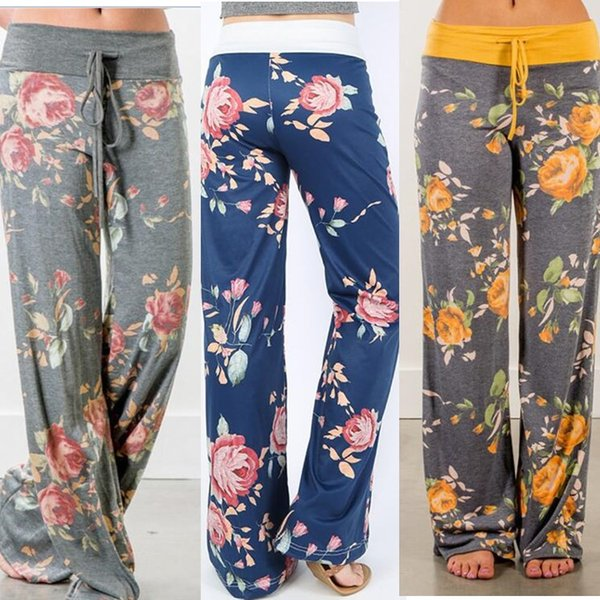 32 Colors Women Yoga Wide Leg Pants Floral Print Sports Fitness Palazzo Trousers Casual Loose Harem Pants Capris Boho Long Pants Plus Size
