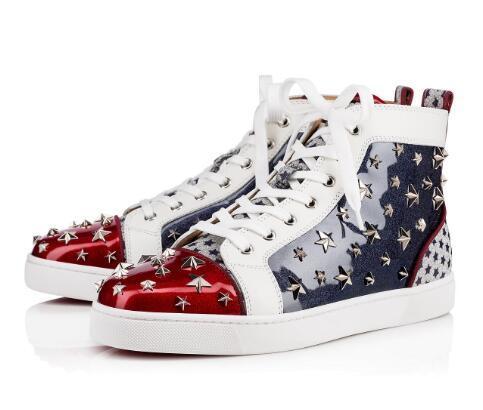 Marka Tasarımcısı Wonder Loustarspiked erkek Düz Kırmızı Alt Sneaker Yıldız Çivili Moda Ayakkabı, Mavi Rugan Denim 3D Yıldız Perçinler Ayakkabı