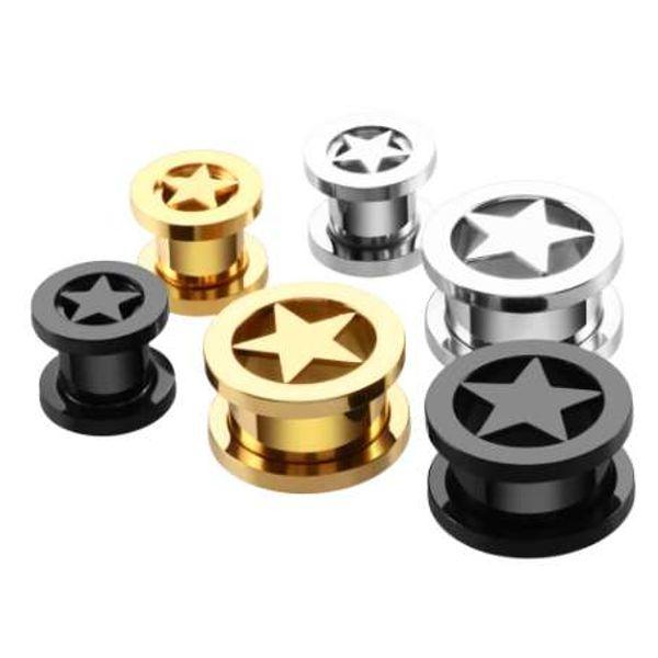 2PCS Steel Stars Ear Plugs Tunnels Screw Fit Ear Tunnels Hollow Gauges Earlet Expander Ear Stretchers Rings Body Jewelry