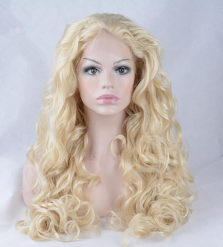 Pretty 100% fast shipping unprocessed raw virgin remy human hair long #613 deep wave full lace cap wig for women