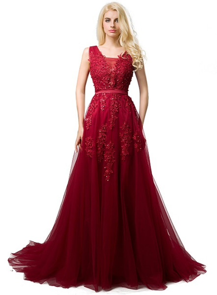 2019 Cheap Long Tulle Prom Dresses Deep V Neck Lace Appliques Low Back Corset Evening Dresses Formal Party Dress for Women Burgundy