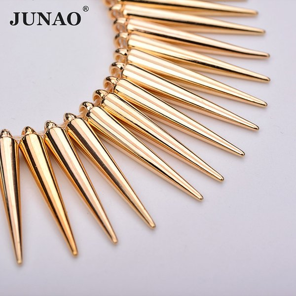JUNAO 100pc 5*35mm Sewing Gold Silver Cone Rhinestones Plastic Decoration Rivet Large Spikes Studs for Leather Clothes