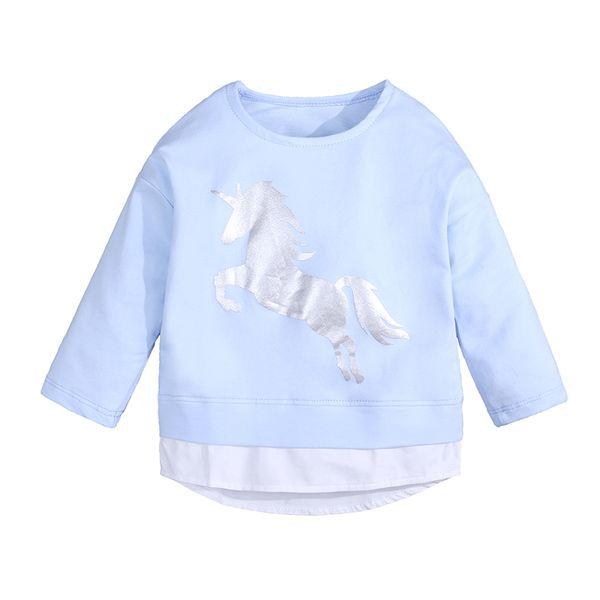 Choses 2018 Autunno Inverno Bambini Vestiti A Manica Lunga T-Shirt Animale Cartone Animato Cavallo Ragazzi Felpe Ragazze T-shirt Bambino Top DBT079