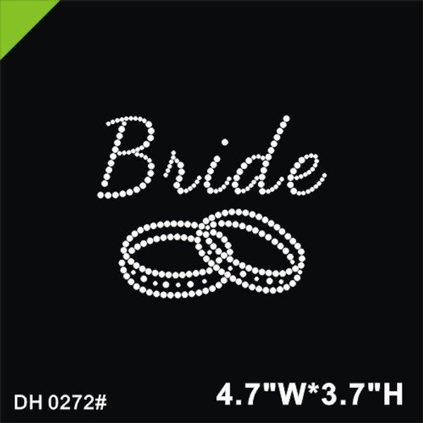 Free shipping Custom bride design iron on rhinestone heat transfer for tshirt 0272#