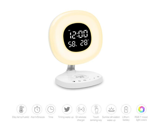 Wireless Desktop Charger Time and Temperature Display RGB 7 Color LED Desk Lamp with Eye Care Light