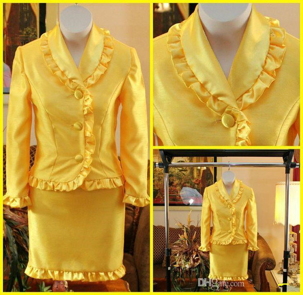 Yellow Little Girls' Pageant Dresses Long Sleeves Short Skirt National Interview Suits Two Pieces Party Gowns