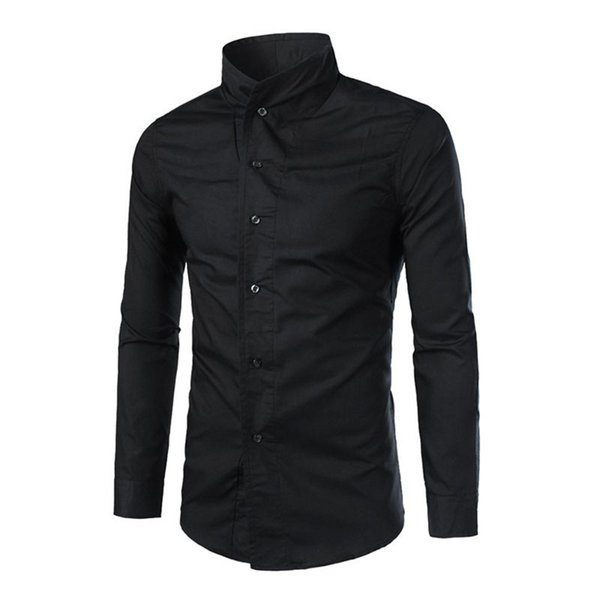 Chinese Style Male Business Office Shirt Classic Black Blouse Wedding Elegant Man Clothing Fashion Stand Collar Button Shirts
