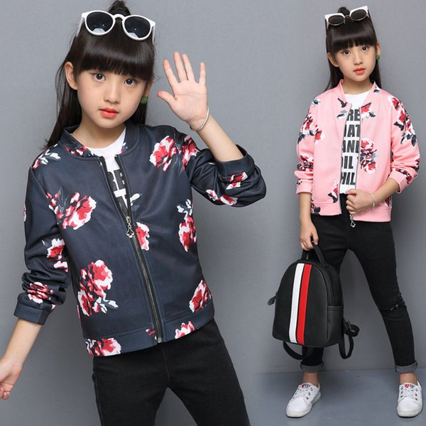 cute causal girls jacket print floral flowers zip PU leather jacket for 3-12yrs girls kids children fashion outerwear clothes